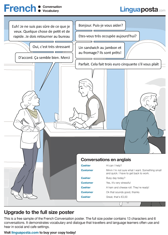 French conversations on cd: sample of bi-lingual transcript.